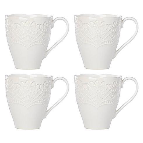 Lenox Chelse Muse Scallop Reactive White Set of 4 Mugs $50.00