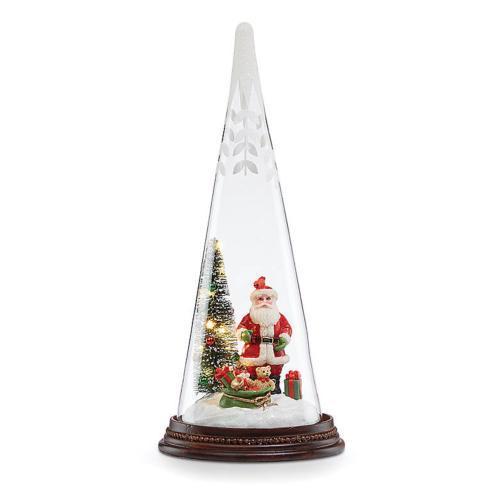 $30.00 Glass Lit Santa\'s Delivery Cone