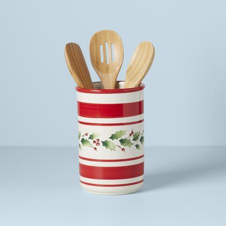 Lenox  Holiday Handpainted Stripe Utensil Crock with 3 Tools $50.00