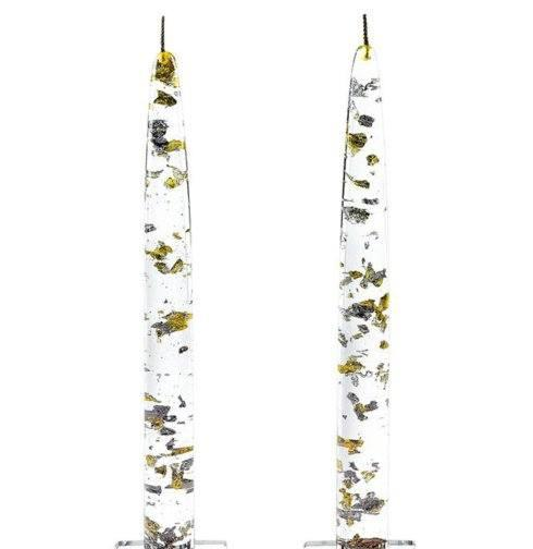 Live With It by Lora Hobbs Exclusives  Badash Crystal & Glass Pair Gold & Silver Fleck Acryllic Candles $15.00