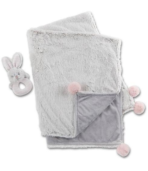 $36.00 Luxury Baby Blanket & Rattle Gift Set, Pink