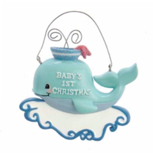 $8.00 Blue Baby\'s 1st Christmas Whale