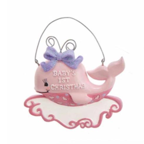 $8.00 Pink Baby\'s 1st Christmas Whale