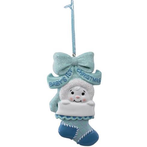 $8.00 Blue Baby\'s 1st Snow Kid Stocking