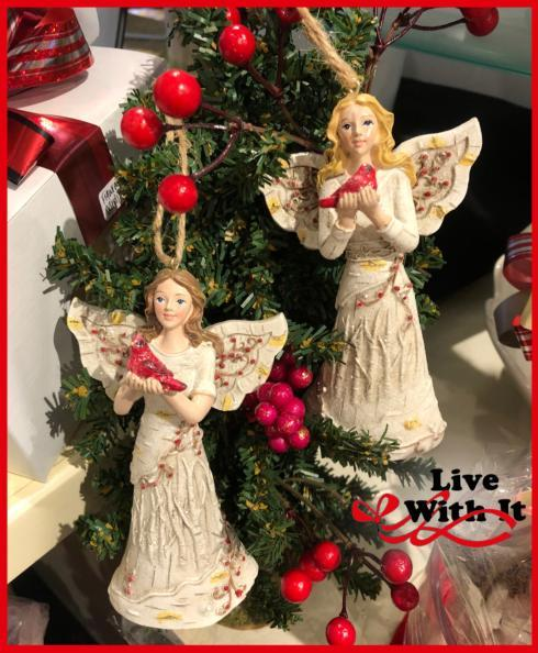 $24.00 Birch Tree Angels Holding Cardinals Ornaments, Set of 2