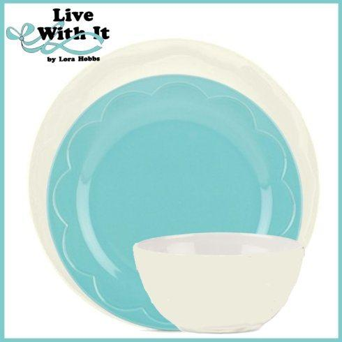 Kate Spade  Sculpted Scallop Dinnerware Custom Cream & Turquoise 3 Piece Place Setting $33.00