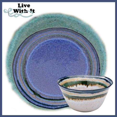 $75.00 Custom Sausalito Green/Blue/White 3 Piece Place Setting