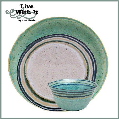 Live With It by Lora Hobbs Exclusives  Custom Designed Place Settings Custom Sausalito Green/White 3 Piece Place Setting $75.00