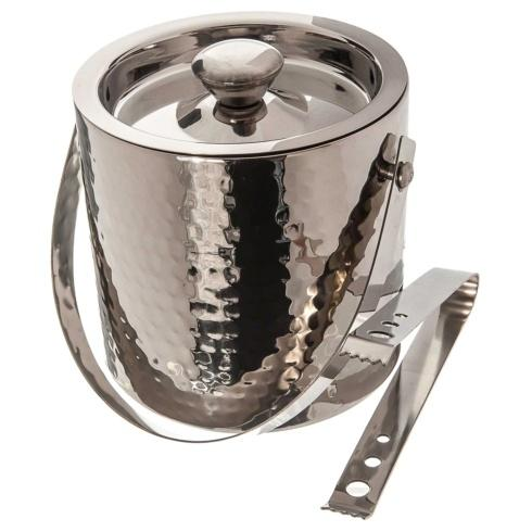 Elegance by Leeber  Hammered Metal Ice Bucket with Tongs $50.00