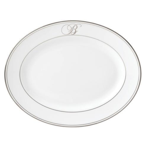 "Lenox Federal Platinum Monogram Script Dinnerware Collection Serveware Oval Platter, ""B"" $170.00"