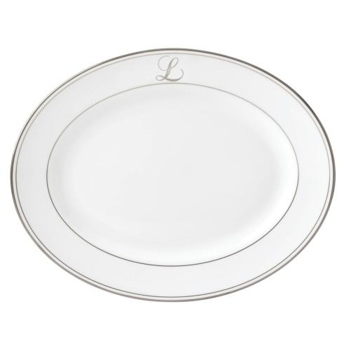 Lenox Federal Platinum Monogram Script Dinnerware Collection Serveware Oval Platter,