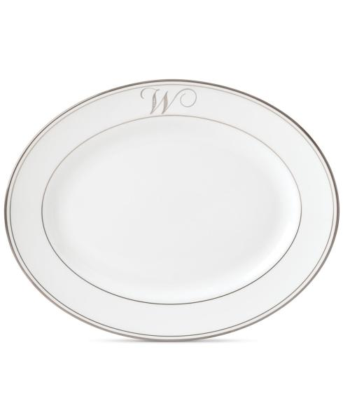 Lenox Federal Platinum Monogram Script Dinnerware Collection Serveware Oval Platter,