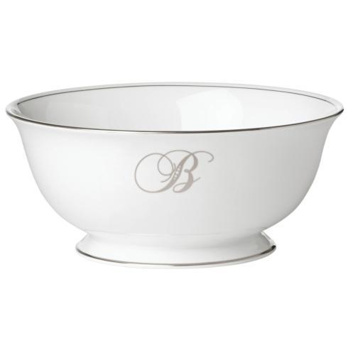 "Lenox Federal Platinum Monogram Script Dinnerware Collection Serveware Serving Bowl, ""B"" $150.00"