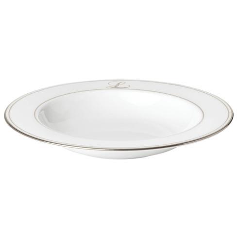Lenox Federal Platinum Monogram Script Dinnerware Collection Dinnerware Pasta / Rim Soup Bowl,