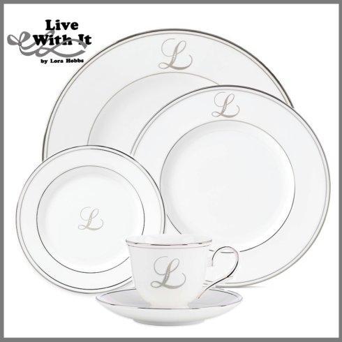 Lenox Federal Platinum Monogram Script Dinnerware Collection Dinnerware Federal Platinum Custom Monogrammed