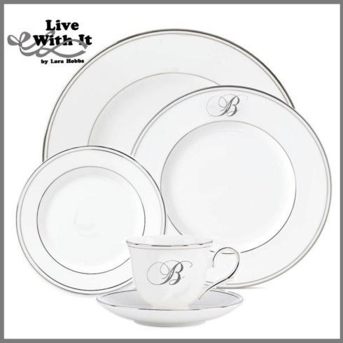 "Custom Monogrammed "" B "" 5-Piece Place Setting"