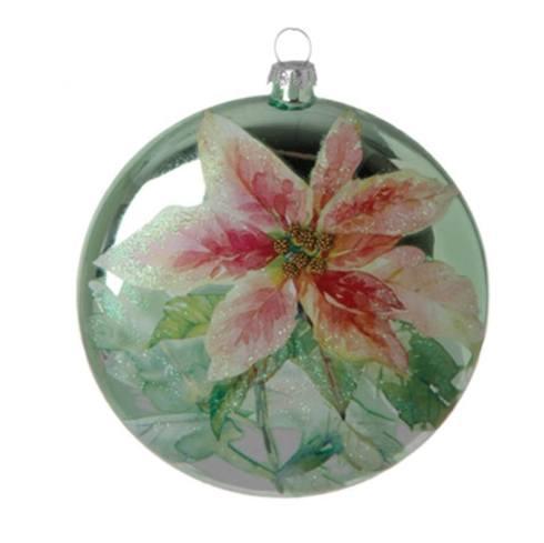$10.00 Green Poinsettia Glass Disc
