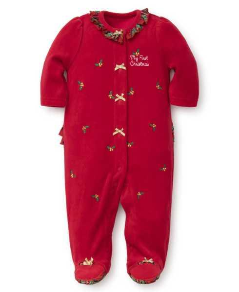 $34.00 Holiday Holly Velour Footie, 9 Months