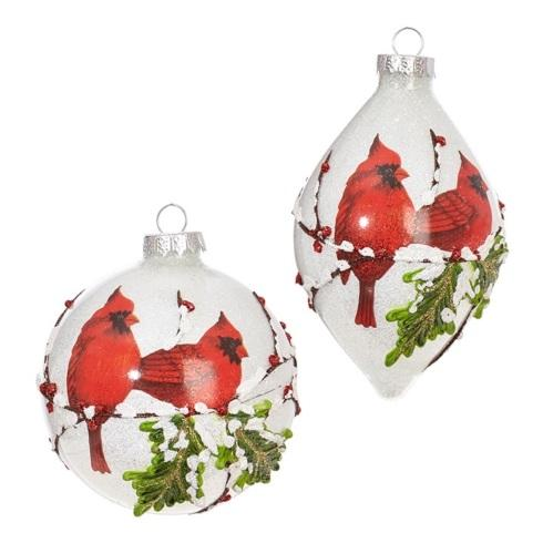 $24.00 Iced Cardinal Ornaments, Set of 2