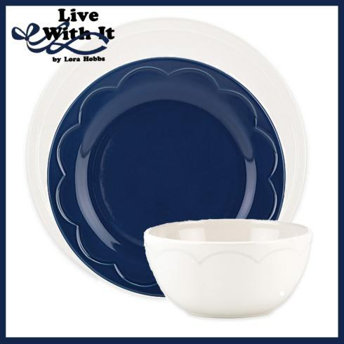 Kate Spade  Sculpted Scallop Dinnerware Custom Cream and Navy 3 Piece Place Setting $33.00