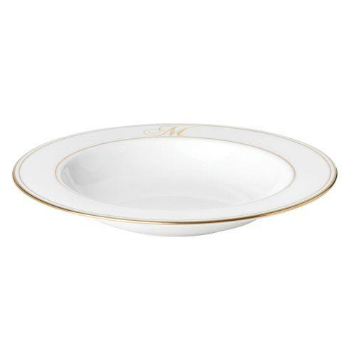 Lenox Federal Gold Monogram Script Dinnerware Rim Soup / Pasta Bowl, M  $31.00