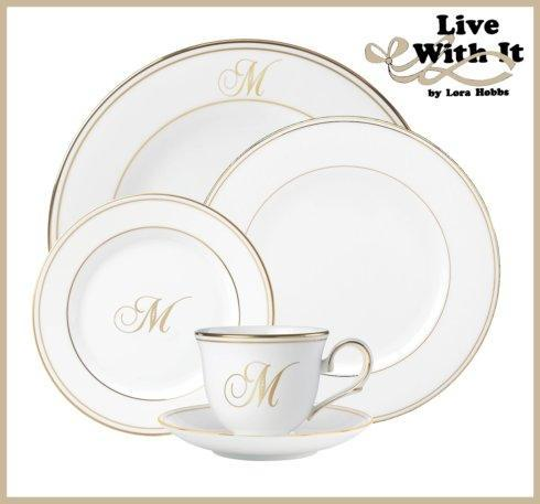 Lenox Federal Gold Monogram Script Dinnerware  Federal Gold Custom Monogrammed