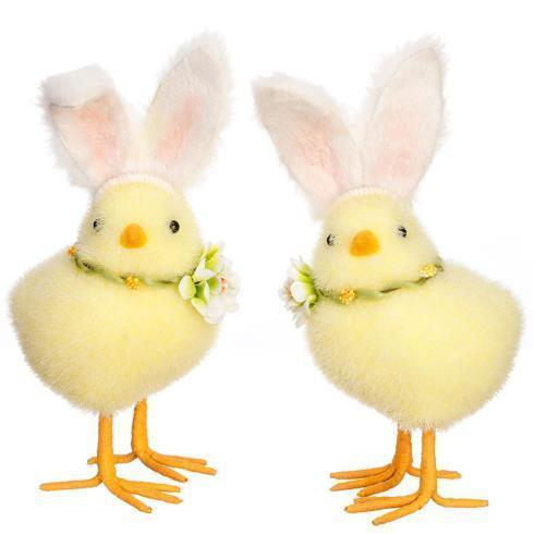 $28.00 Chicks with Fuzzy Bunny Ears, Set of 2