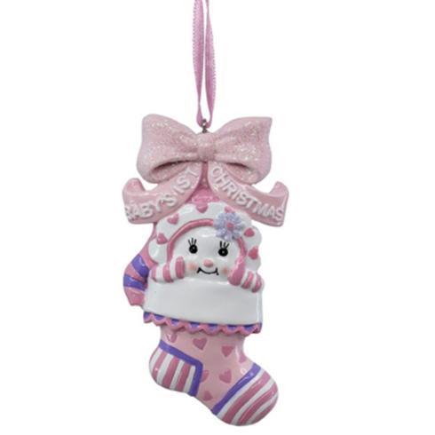 $8.00 Pink Baby\'s 1st Snow Kid Stocking