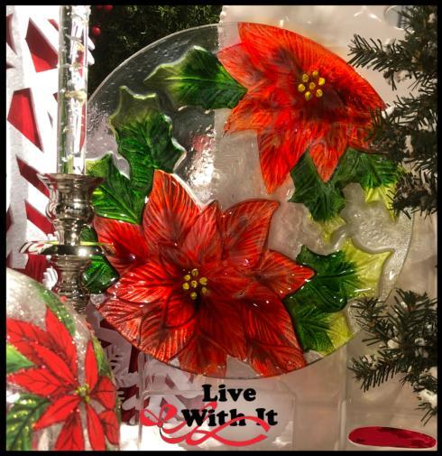 $25.00 Poinsettia Round Fused Glass Platter