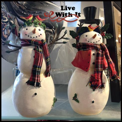 $52.00 Pair of Plaid Scarfed Snowmen figures with Cardinals