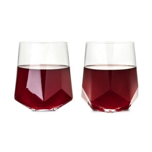 $36.00 Raye Faceted Crystal Wine Glasses, Set of 2