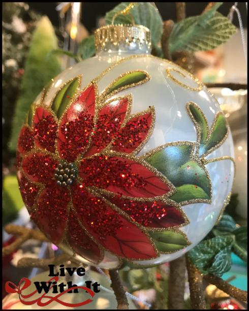 $13.00 Red Poinsettia on Gold Swirl White Ball Ornament