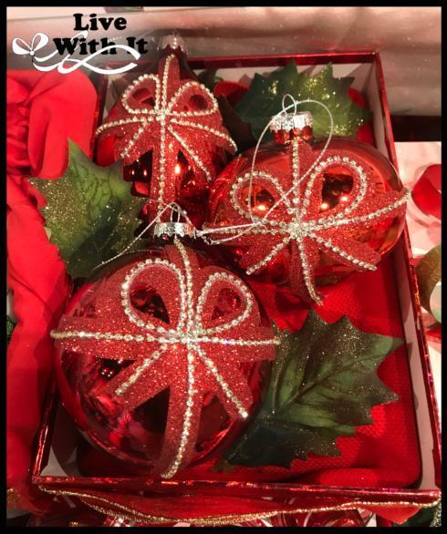 $36.00 Silver Gem Bows on Red Glass Ornaments, Assorted Set of 3