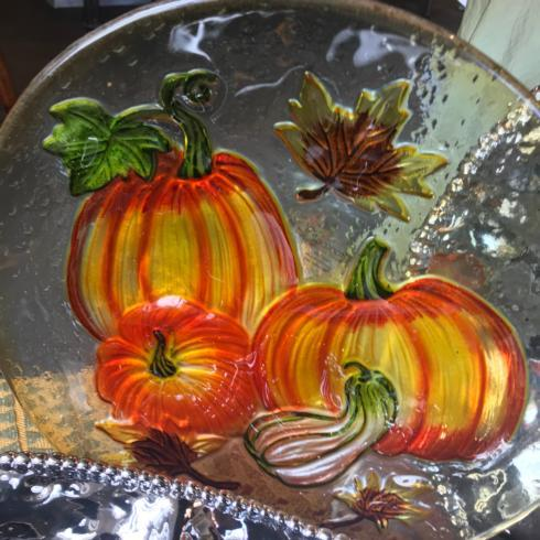 """Live With It by Lora Hobbs Exclusives  Harvest Pumpkin Harvest Round Glass Platter, l2"""" $20.00"""