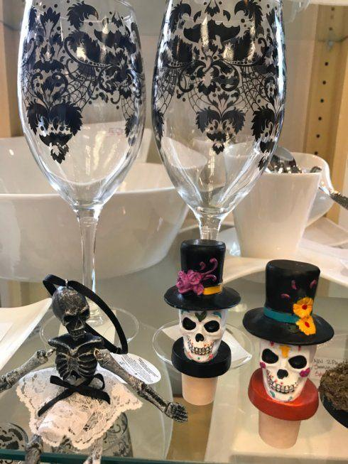 $18.00 Pair Skull Wine Glasses