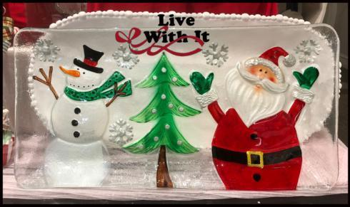$38.00 Snowman and Santa with Tree Rectangular Fused Glass Platter