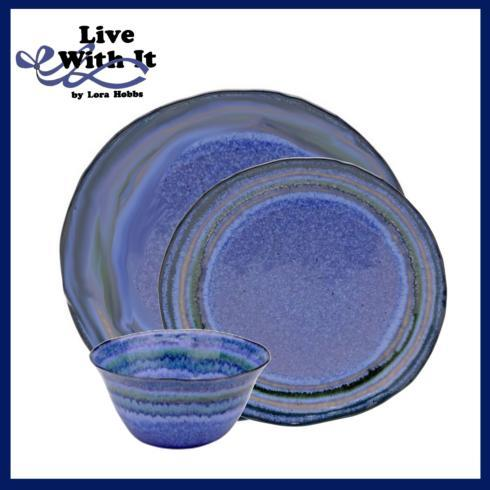 Live With It by Lora Hobbs Exclusives  Custom Designed Place Settings Custom Sausalito Blue 3 Piece Place Setting $75.00