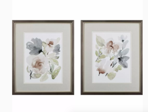 Tranquil Floral I & II, Set of 2