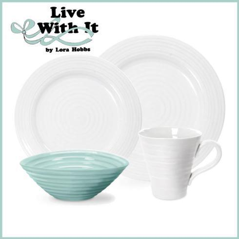 Live With It by Lora Hobbs Exclusives  Custom Designed Place Settings Custom 4 Piece Place Setting Sophie Conran White and Celadon $49.99