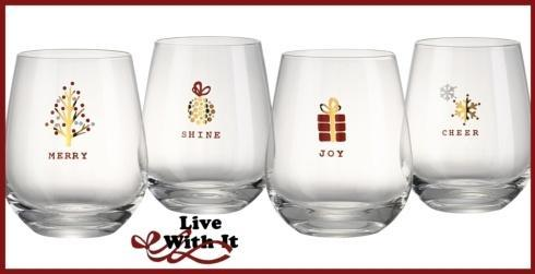 $30.00 Holiday Tidings Set of 4 Stemless Glasses