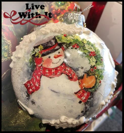 $17.00 Textured Snowman with Christmas Wreath Ornament
