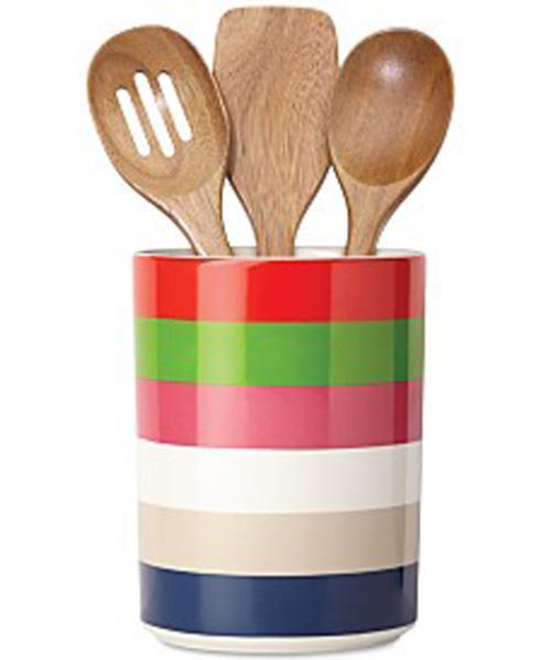 Kate Spade  Rainey Stripe Dinnerware Utensil Crock with 3 Wooden Servers $40.00