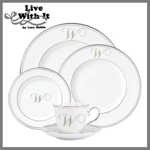 Lenox Federal Platinum Monogram Script Dinnerware Collection Dinnerware Custom Monogrammed