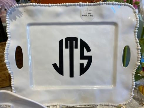 Live With It by Lora Hobbs Exclusives  Beatriz Ball Alegria White Melamine Rectangular Handled Tray with Monogram $78.00