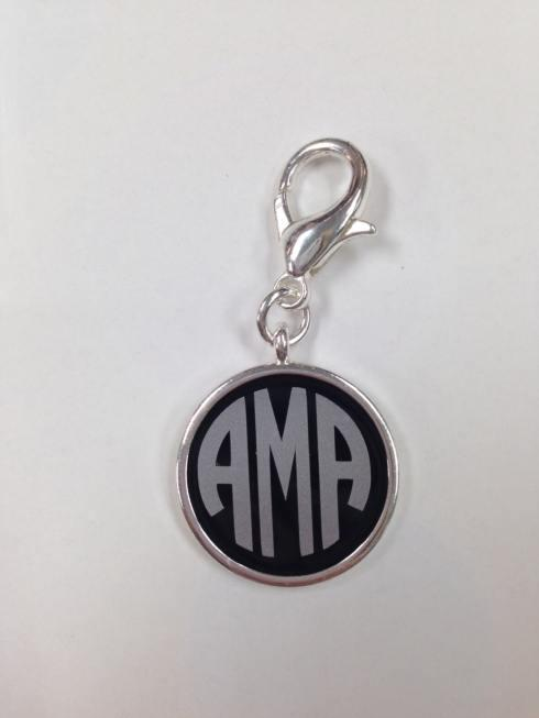 $28.00 Monogrammed Black Enamel Silver Disc with Silver Monogram