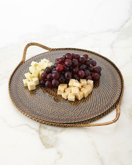 Calaisio   Round Serving Tray with Glass Bottom $75.00