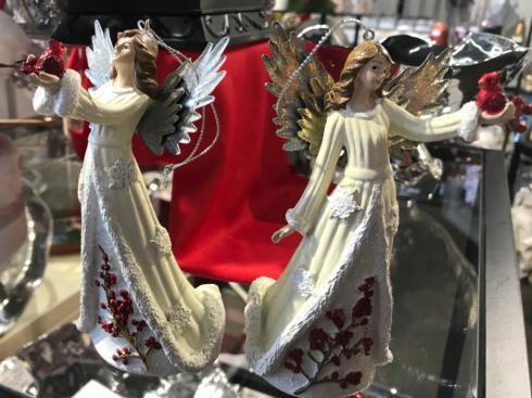 $24.00 Angel with Cardinal Ornaments, Set of 2