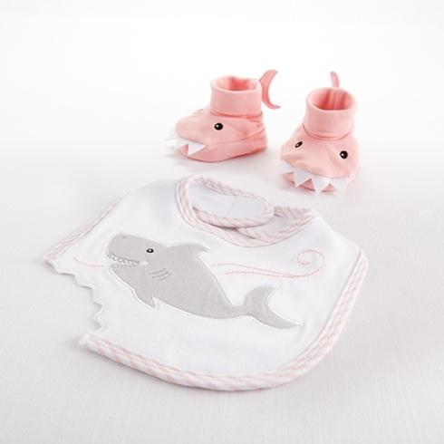 $20.00 Chomp and Stomp Pink Shark Bib and Booties