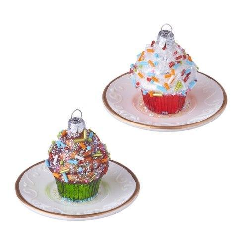 $24.00 Cupcake on Plate Ornament, Set of 2