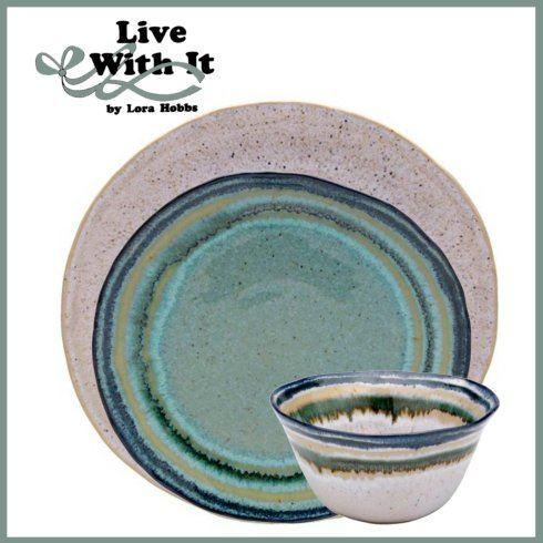 Live With It by Lora Hobbs Exclusives  Custom Designed Place Settings Custom Sausalito White/Green 3 Piece Place Setting $75.00